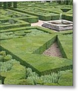 The Boxwood Garden At Chateau Villandry Metal Print