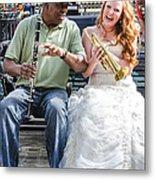 The Bride Plays The Trumpet- Destination Wedding New Orleans Metal Print