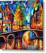The Bridges Of Amsterdam - Palette Knife Oil Painting On Canvas By Leonid Afremov Metal Print