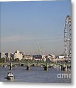The British Airways London Eye And Westminster Bridge In London England Metal Print