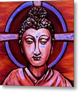 The Buddha In Red And Gold Metal Print