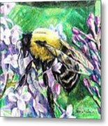 The Busy Bee And The Lilac Tree Metal Print