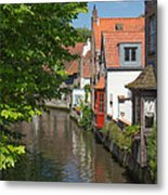 The Canal In The Downtown Of Bruges  Metal Print