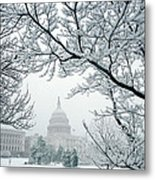 The Capitol In Snow Metal Print
