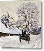 The Carriage- The Road To Honfleur Under Snow Metal Print