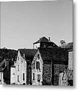 The Castle Above The Village Panorama In Black Nd White Metal Print
