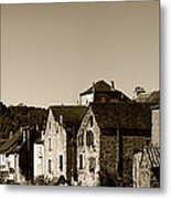 The Castle Above The Village Panorama In Sepia Metal Print
