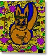 The Cat And His Fish Popart Metal Print