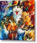 The Cat And The Guitar Metal Print