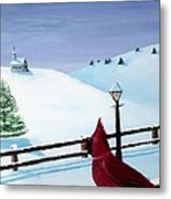 The Christmas Cardinal Metal Print by Spencer Hudon II