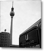 the christmas market in Alexanderplatz with the Berlin Fernsehturm and U-bahn sign Germany Metal Print by Joe Fox