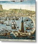 The City And Port Of Barcelona 18th C Metal Print