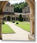The Cloister Courtyard - Cloister Fontenay Metal Print