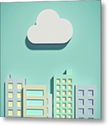 The Cloud Network And Office Buildings Metal Print