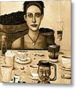 The Coffee Addict In Sepia Metal Print