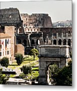 The Colosseum Through The Forum Metal Print
