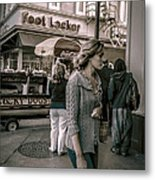 The Corner Of Bourbon And Canal Streets In New Orleans Metal Print by Louis Maistros