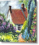 The Cottage Garden Path Metal Print
