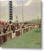 The Course At Longchamps Metal Print by Jean Beraud