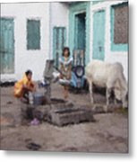 The Cow In The Yard Metal Print