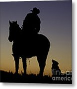 The Cowboy And His Dog Metal Print
