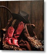 The Cowgirl Rest Metal Print by Olivier Le Queinec