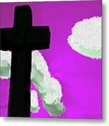 The Cross On Purple Metal Print