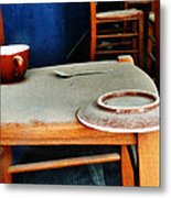 The Cup Saucer And Spoon Metal Print