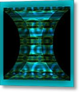 The Curtain - Turquoise Metal Print