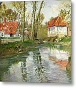 The Dairy At Quimperle Metal Print by Fritz Thaulow