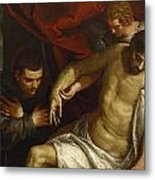 The Dead Christ Supported By An Angel And Adored By A Franciscan Metal Print