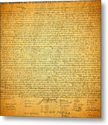 The Declaration Of Independence - America's Founding Document Metal Print by Design Turnpike