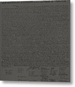 The Declaration Of Independence In Charcoal Metal Print