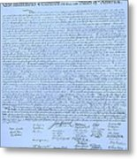 The Declaration Of Independence In Cyan Metal Print