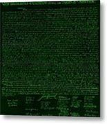 The Declaration Of Independence In Negative Green Metal Print by Rob Hans