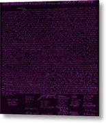 The Declaration Of Independence In Negative Purple Metal Print