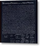 The Declaration Of Independence In Negative Red White And Blue Metal Print
