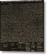 The Declaration Of Independence In Negative Sepia Metal Print by Rob Hans