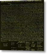The Declaration Of Independence In Negative Yellow Metal Print