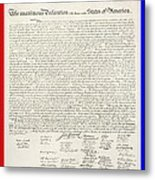 The Declaration Of Independence In Red White And Blue Metal Print by Rob Hans
