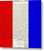 The Declaration Of Independence In Red White Blue Metal Print by Rob Hans