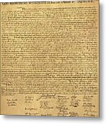 The Declaration Of Independence In Sepia Metal Print