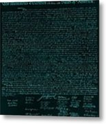 The Declaration Of Independence In Turquoise Metal Print