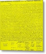 The Declaration Of Independence In Yellow Metal Print