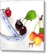 The Deers Among Cherries And Blue-and-white China Miniature Art Metal Print