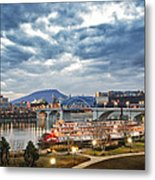 The Delta Queen And Coolidge Park At Dusk Metal Print by Steven Llorca