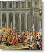The Departure Of Alois Thomas Von Harrach, Viceroy Of Naples 1669-1742 From The Palazzo Reale Di Metal Print