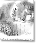 The Devil Speaks To A Bagpiper In Hell Metal Print