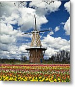 The Dezwaan Dutch Windmill Among The Tulips On Windmill Island In Holland Michigan Metal Print