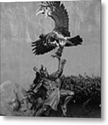 The Eagle And The Indian In Black And White Metal Print